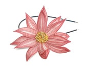 Lotus Flower Headband- Blushing Pink with Turish Rose and Bright Coral Embroidery- Embroidered and Beaded Lily Flower Headband