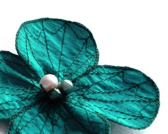 Botanical Hair Clip- You Choose Hair Clip, Bobby Pin, or Brooch- Flower Hair Clip- Turquoise with Dark Forest Green Embroidery