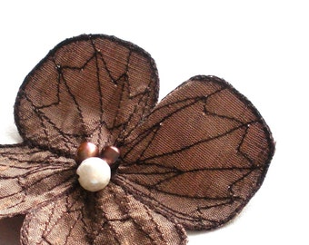 Botanical Hair Clip- You Choose Hair Clip, Bobby Pin, or Brooch- Bronze with Darkest Brown Embroidery