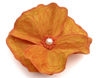 Yellow Icelandic Poppy Hair Flower- You Choose Clip or Brooch- Embroidered Silk Flower Fascinator- Saffron Yellow with Tangerine Embroidery