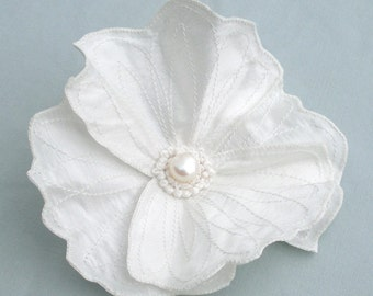 White Icelandic Poppy- Your Choice of Hair Clip or Brooch- Embroidered Silk Flower Fascinator- Ivory White with White Embroidery