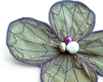 Botanical Hair Clip- Your Choice of Hair Clip, Bobby Pin, or Brooch- Sage Green with Purple Embroidery