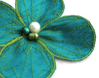 Botanical Hair Clip- You Choose Hair Clip, Bobby Pin, or Brooch- Turquoise with Apple Green Embroidery