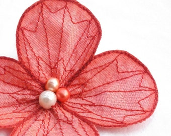 Botanical Hair Pin- Your Choice of Hair Clip, Bobby Pin, or Brooch- Salmon Pink Silk Fabric with Coral Embroidery