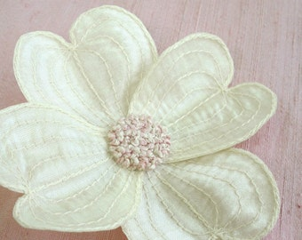Dogwood Blossom Flower Clip- Cream with Pale Pink Embroidered Center- Your Choice Hair Clip or Brooch