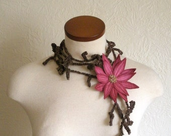Cerise Pink Lotus Flower with Dark Brown Lariat Scarf-  Fiber Art Scarf- Embroidered Silk Flower Lily Clip with Crochet Scarflette
