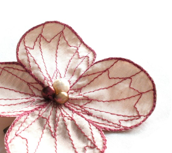 Botanical Hair Clip- You Choose Hair Clip, Bobby Pin or Brooch- Blush Champagne Pink with Rose Embroidery