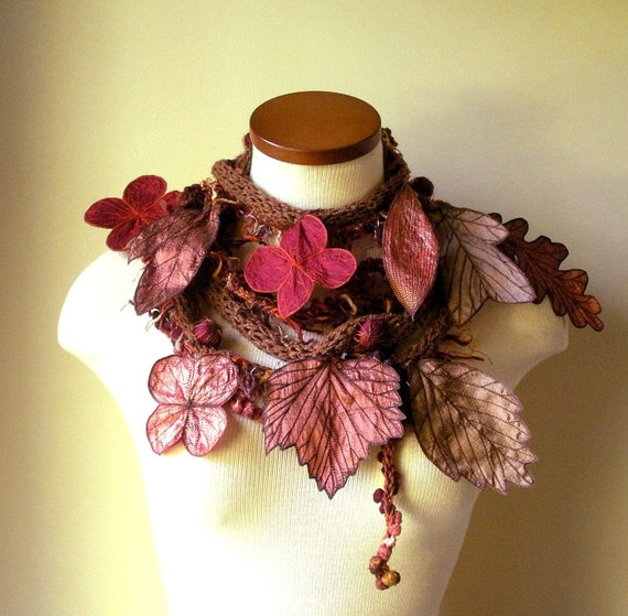 Long and Leafy Scarf- Burnt Sienna with Burgundy Berries