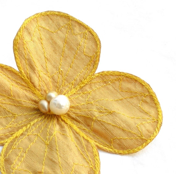 Botanical Hair Pin- Your Choice of Hair Clip, Bobby Pin, or Brooch- Honeycomb Yellow with Lemon Embroidery- Yellow Flower Hair Clip