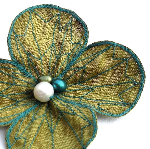 Botanical Hair Pin- Your Choice of Hair Clip, Bobby Pin, or Brooch- Olive Green with Teal Embroidery- Flower Hair Clip