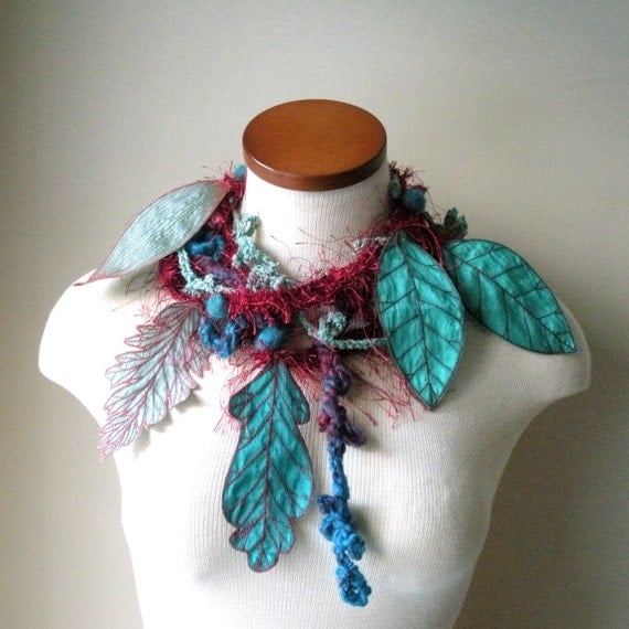 Leafy Lariat Scarflette- Crimson with Light Cyan, Turquoise, and Dark Turquoise