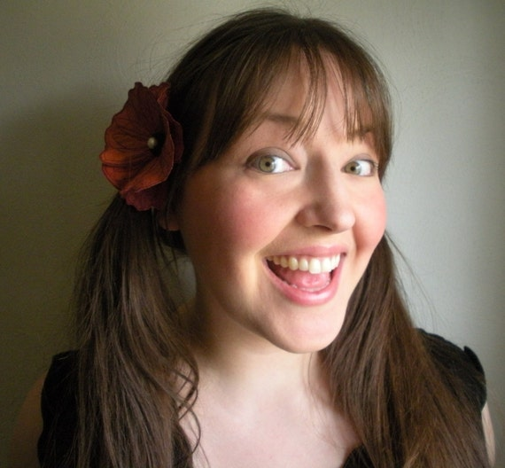 Custom Poppy Clip or Brooch- You Choose Your Own Size and Color - Embroidered Silk Flower Fascinator