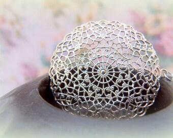 Classic Pendant, Lacy Silver Pendant, Pearl