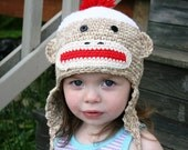 Loop-De-Loop Sock Monkey Earflap Hat (preschool)