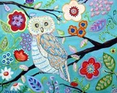 Owl original 24 x 20 painting on canvas FREE shipping in US