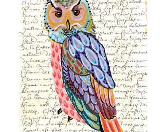OWL print of an original whimsical painting