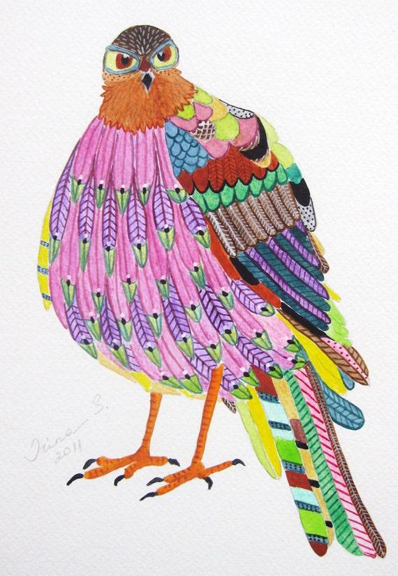Bird original  painting on paper