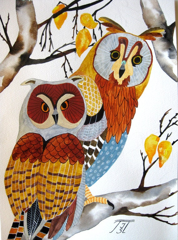 Owls original painting on paper