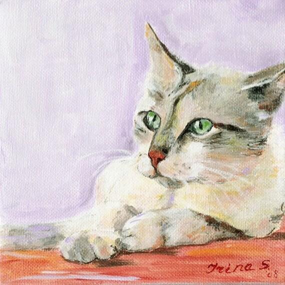 Cat painting original art