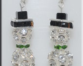 Crystal Bead Snowman Earrings