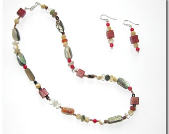 Coral and Shell Necklace and Earring Set