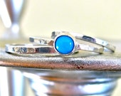 Set of 3. One Sleeping Beauty Turquoise Ring and Two Fine Silver Rings