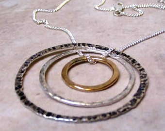 Mixed Metal Circle Necklace, Sterling  and 14K Gold Fill Circles,  Silver and Gold Necklace