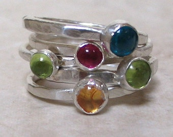 One, 5mm. Peridot,  Jeweled Silver Stacking Ring