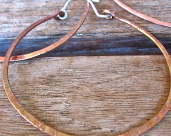 BIG, Handforged Copper Hoops With Silver Wires