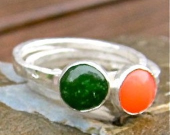 Jade and Fine Silver Stack Ring 6mm.