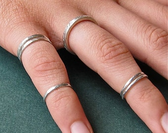 First Knuckle, Fingertip  Sterling  Silver Ring Set Elizabethan Style