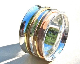 Tri-Color Spinner Ring, Silver, Yellow and Rose Goldfill, Made to Order