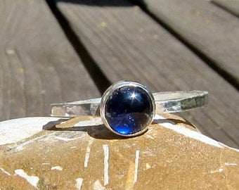 Blue 6mm. Sapphire and Silver Stack Ring