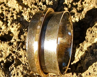 Oxidized Flared, Sterling Ring With 14K Gold Fill Spinner