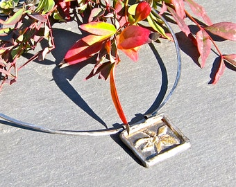 Cast Recycled Sterling Pendant, Handforged Silver Choker Collar, Fused Link Closure, OOAK