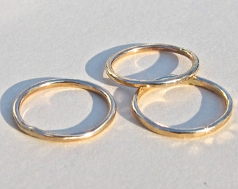First Knuckle, Fingertip 14K Yellow or Rose Gold Filled Ring Set of Three,  Midi Style