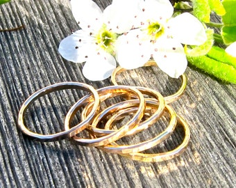 14K Gold Filled Stack Rings, Three GFRings, Hammered Gold Rings, Gold Stack Rings