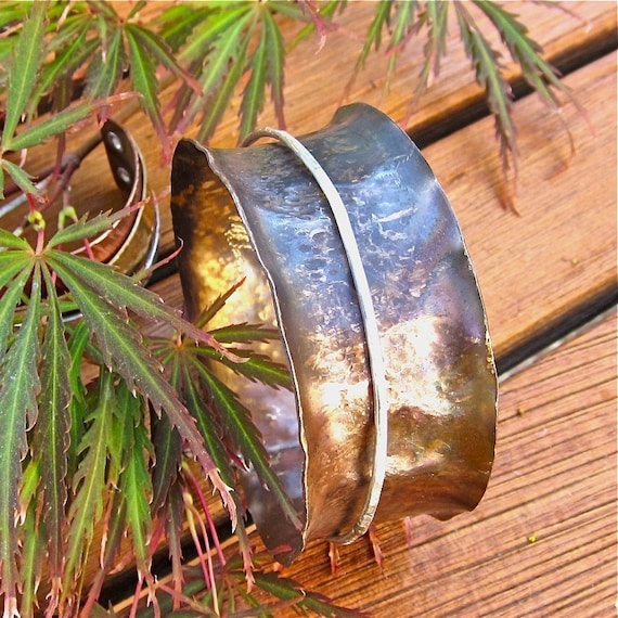 Handforged Brass Bangle With Silver Spinner