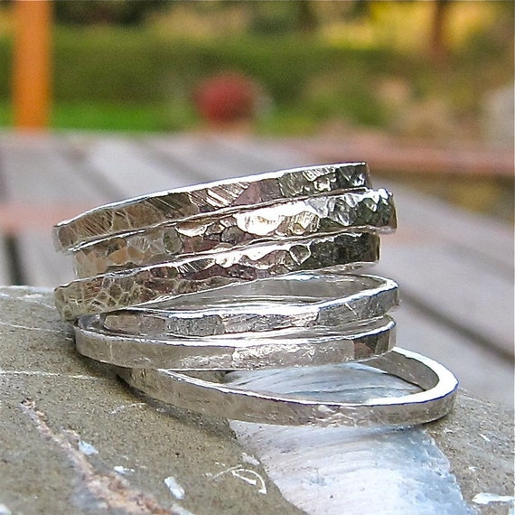 One Fine Silver Handforged Stacking Ring