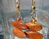 Side Cut Bayong Wooden dangle earrings with copper accent beads