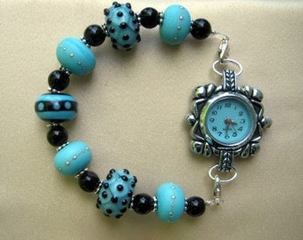 Watch and Beaded  Interchangeable Bracelet Watch Band Lamp work Beads