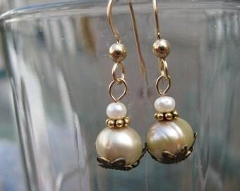 Sage Green Pearl Dangle Earrings Strung on Gold Filled Earwire