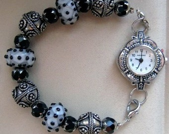Black and White Lamp Work Interchangeable Bracelet Watch Band