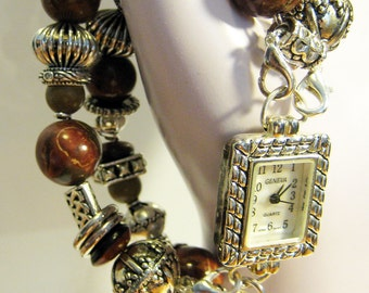 Chunky Interchangeable Lamp Work Bracelet Watch Band Double Strand With Silver Watch Face