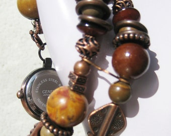 Earthy Copper Interchangeable Beaded Bracelet Watch Band with Watch Face Copper and Brown Tones