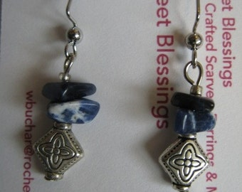 Blue Sodalite Chips with Silver Toned Metal Beads and Ear Wire  Dangle Earrings