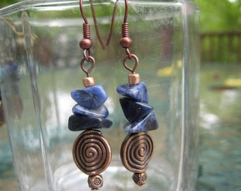 Sodalite Chip Dangle Earrings\/Copper Earwire and Accent Beads
