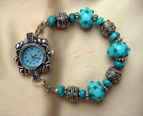 Turquoise Interchangeable Watch with Lamp Work Beads