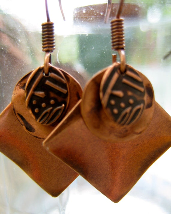 Copper Metal Dangle Earrings with Square, Oval Stamped and Round Hammered Drops