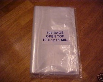 100 Clear Plastic 1 Mil 10x12 Poly Bags 10 x 12 Open Top